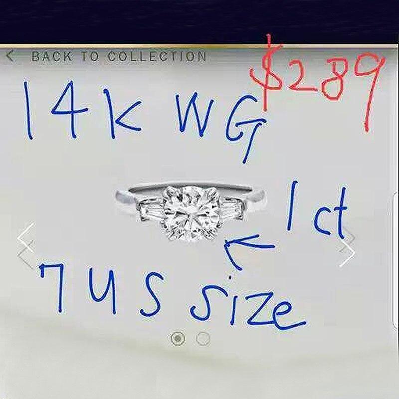 Custom Order of 14k White Gold size 4.5 size 1carat Moissanite Ring