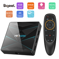 Bqeel TV BOX Android 9.0 HK1 SUPER RK3318 Quad Core 4G 64G Smart Android Box 2.4G&5G BT 4.0 WIFI Box TV 4K 3D Google Player