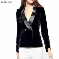 KoHuiJoo Slim Black Women's Blazers and Jackets Long Sleeve Double Breasted Basic Solid Office Female Formal Velvet Jackets Lady
