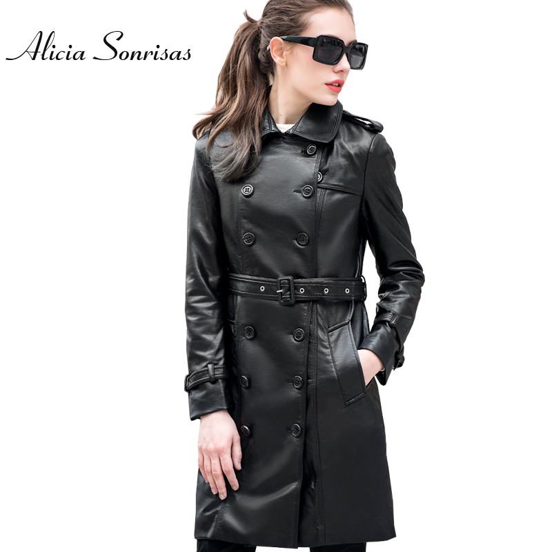 2018 Spring Jacket Women Long Trench Coat PU Faux   Leather   Jackets Perfecto Femme Cuir Black Long   Leather   Coats UV1087