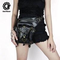 Waist Bags Steampunk Women Men Fanny Packs Punk Gothic Leather Shoulder Bags Black Fashion Travel Hip Hop Bags