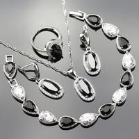 Silver Color 925 Logo Black Crystal White Zircon Jewelry Sets For Women Necklace Earrings Bracelet Ring