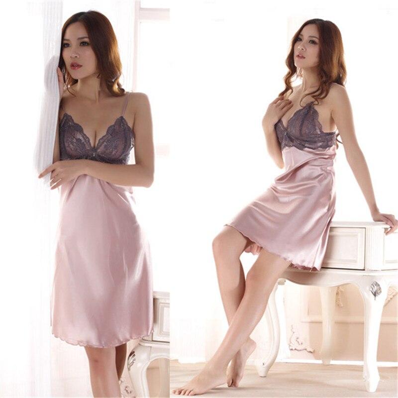 Ladies Imitated Silk Braces Dress Lace Sleepwear Nightgown Nightwear Y6