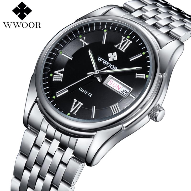 Prix pour Hommes Montres De Luxe Marque Jour Date Lumineux Heure Horloge Argent Bracelet en acier Casual Quartz Montre Hommes Sport Montre-Bracelet Mâle Relogio
