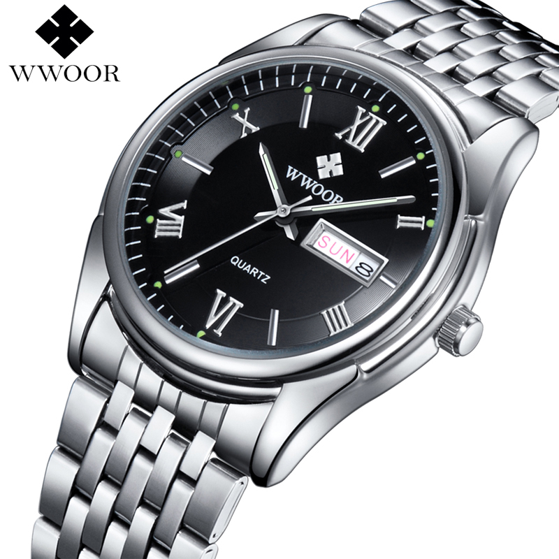 Men Watches Luxury Brand Day Date Luminous Hour Clock Silver Steel Strap Casual Quartz Watch Men Sports Wrist Watch Male Relogio men watches top brand wwoor date clock male waterproof quartz watch men silver steel mesh strap luxury casual sports wrist watch