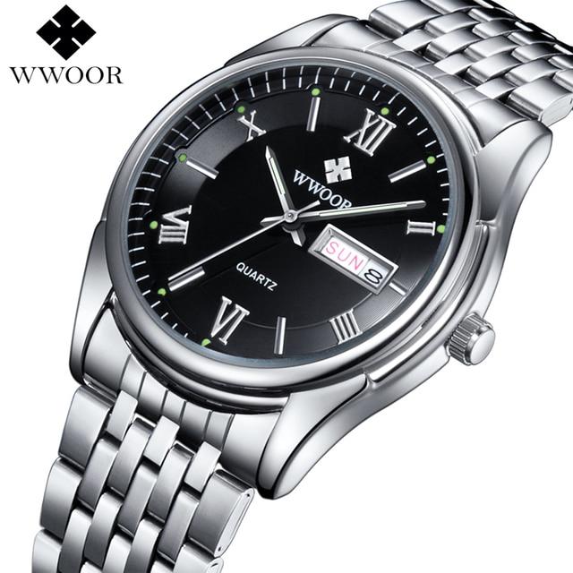 91f97f1c0cf Relógios dos homens Marca de Luxo Data Dia Hora Luminosa Relógio Masculino  de Negócios de Aço