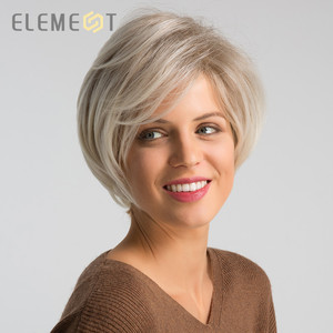Image 2 - ELEMENT 6 Inch Short Synthetic Wig for Women Left Side Parting Ombre Gray to White High Temperature Replacement Hair Wigs