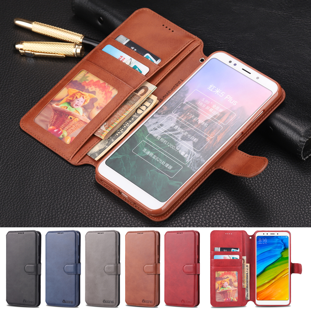 Luxury Leathe Wallet Case for Xiaomi Redmi 5 redmi Plus Card Holder Flip For xiaomi plus Silicone Back Cover