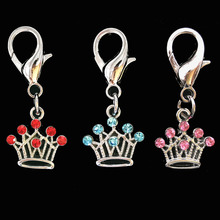 2pcs Rhinestone Crown Collar pet Charm Pet Jewelry Cat dog collar pendant Bone Necklace Collar Puppy collar accessory