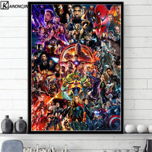 Hot Posters and Prints Marvel Cinematic Universe COLLAGE Avengers Art Poster marvel End Game Wall Picture Canvas Painting(China)
