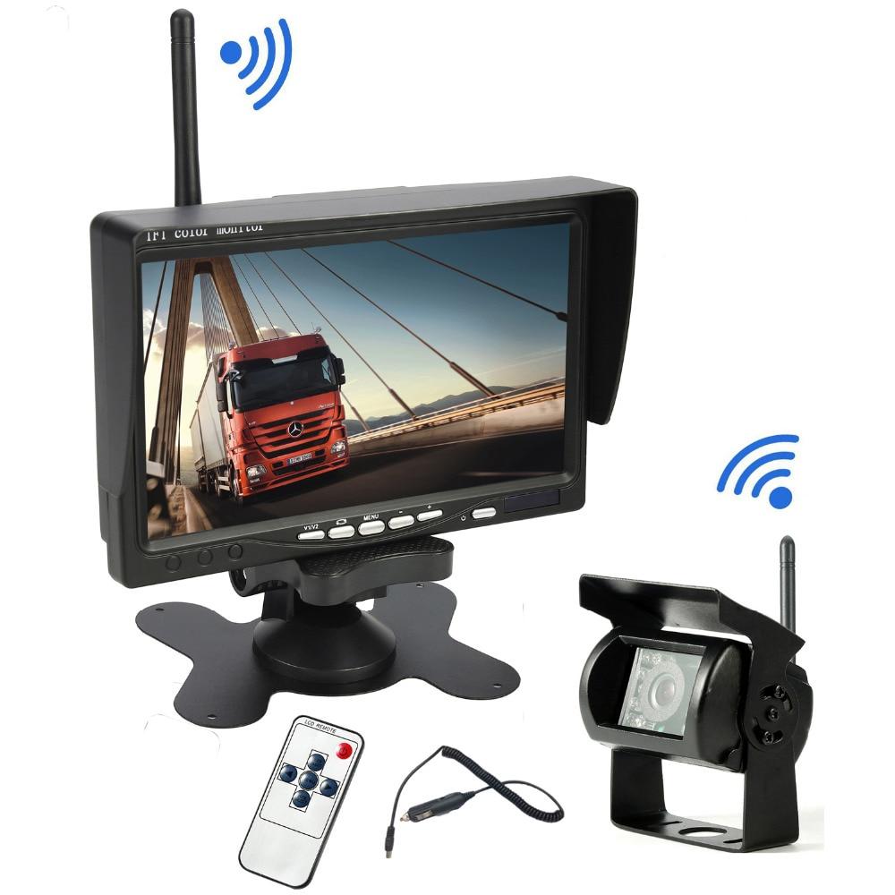 """12V-24V Vehicle Reversing Backup Camera 7/"""" HD LCD Monitor for RV Truck Trailer"""
