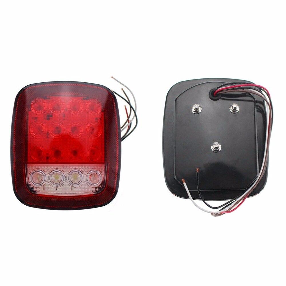 2Pcs Tail Light 12V Car Trailer 16LED Truck Tail Light Waterproof Super Bright LED Marker Turn Light Tail Back-up Light Lamp yamaha led trailer light kit