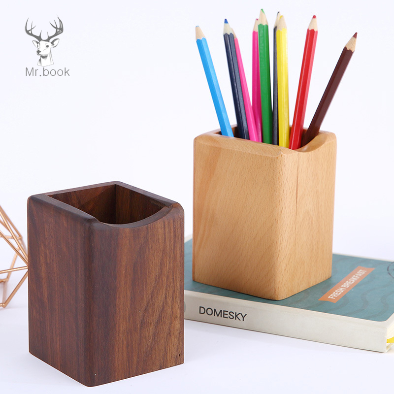 Multi-function Square Walnut Wood Pen Holder Makeup Brushes Tools Cup Holder Case Creative Office School Desktop Storage Case