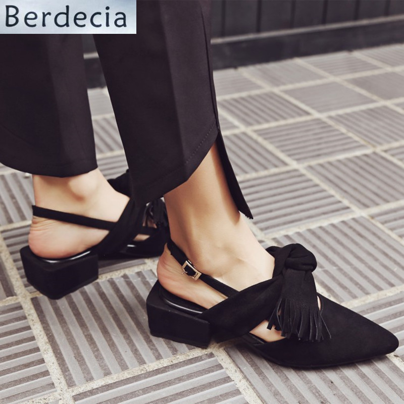 Chunky Heels Pointed Toe Women Pumps Butterfly knot Ankle Buckle Shoes Women Solid Med Heels Women Casual Shoes Zapatos Mujer