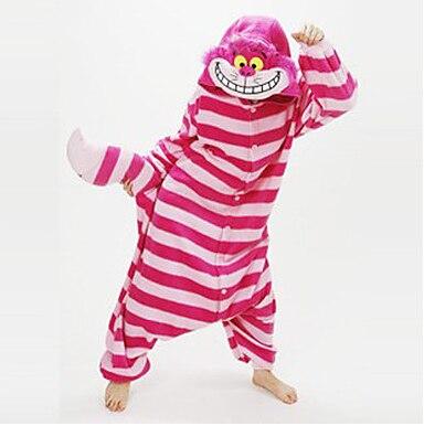 Pajamas Cat / Chesire Cat Leotard/Onesie Festival/Holiday Animal Sleepwear Halloween Pink Patchwork Coral fleece