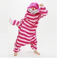 Pyjama cat/chesire cat turnpakje/onesie festival/vakantie dier nachtkleding halloween roze patchwork coral fleece