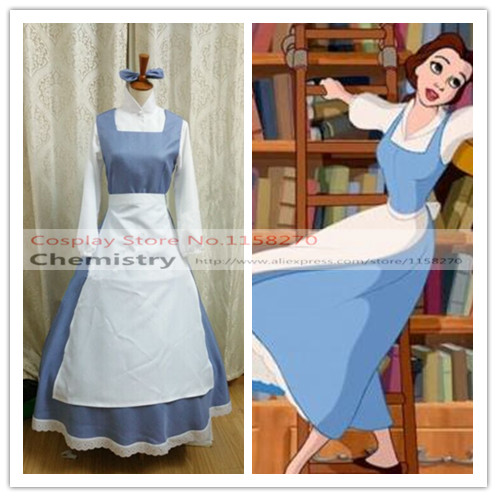 Beauty and The Beast Belle maid Cosplay Costume