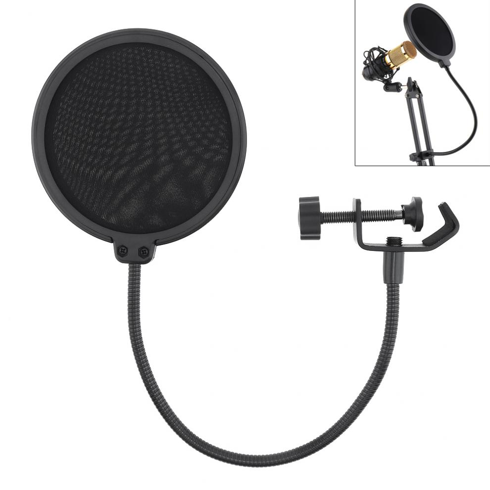 Durable Double Layer Windscreen Studio Microphone Flexible Wind Screen Mask Mic Pop Filter Bilayer Shield for Speaking Recording Microphone Accessories     - title=