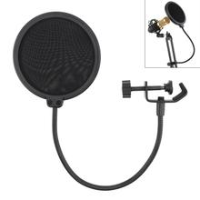 Durable Double Layer Windscreen Studio Microphone Flexible Wind Screen Mask Mic Pop Filter Bilayer Shield for Speaking Recording