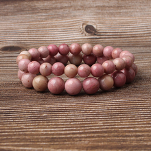 Linxiang Fashion Jewelry 4/6/8/10/12MM Red Stone Rose Quartz Bracelet Suitable for Charming Mens and Womens Amulets