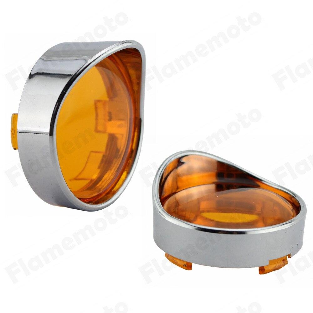 2Pcs Smoke Turn Signal Light Indicator Visor Lenses Lens For Harley Dyna Softail Sportster XL|light commander - title=