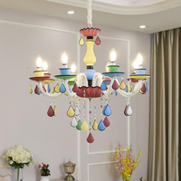 Macaroon cartoon colourful LED crystal chandelier lights Art Deco Princess' room girls' bedroom chandeliers with remote control