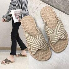 Сандалии; женские нескользящие льняные тапочки; полосатые сандалии с лентами на пробковой подошве; туфли на плоской подошве; повседневные соломенные пляжные шлепанцы