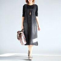 Johnature Women Denim Dress 2018 Autumn New Casual Sleeveless Pockets Black Fashion Women Dress Loose