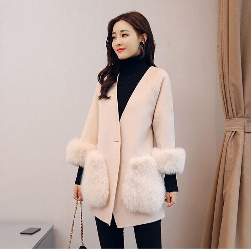 A Autunno Versione Femminile Inverno Tasca Coreana Calda Polsino V Con Creamy white Cintura Volpe Sottile Moda Cappotto Giacca Lana Temperamento Scollo Di Pelliccia tOwIIqY