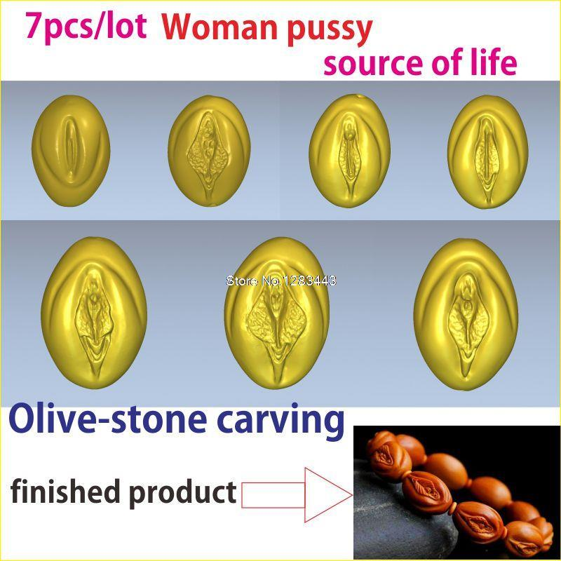7pcs/lot 3d model relief  for cnc or 3D printers in STL file Fruit pit carving of Woman pussy and the source of life model relief for cnc in stl file format 3d panno bird 1