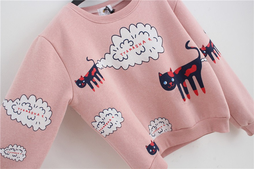 17 New Spring Autumn Sweatshirt Women Tops Plus Size Loose Casual Plus Thick Velvet Cartoon Cat Pattern Sweatshirts Pullovers 12