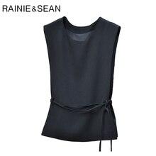 Renie SEAN черный Блейзер жилет для женщин Slim Fit кружево до формальный без рукавов куртка Женский Регулируемый пояс весенние жилеты Жилет