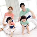Family Clothing Look Fashion Patchwork Short-sleeve T-shirt Tees Matching Outfits Clothes For Mother Mom Daughter And Father Son