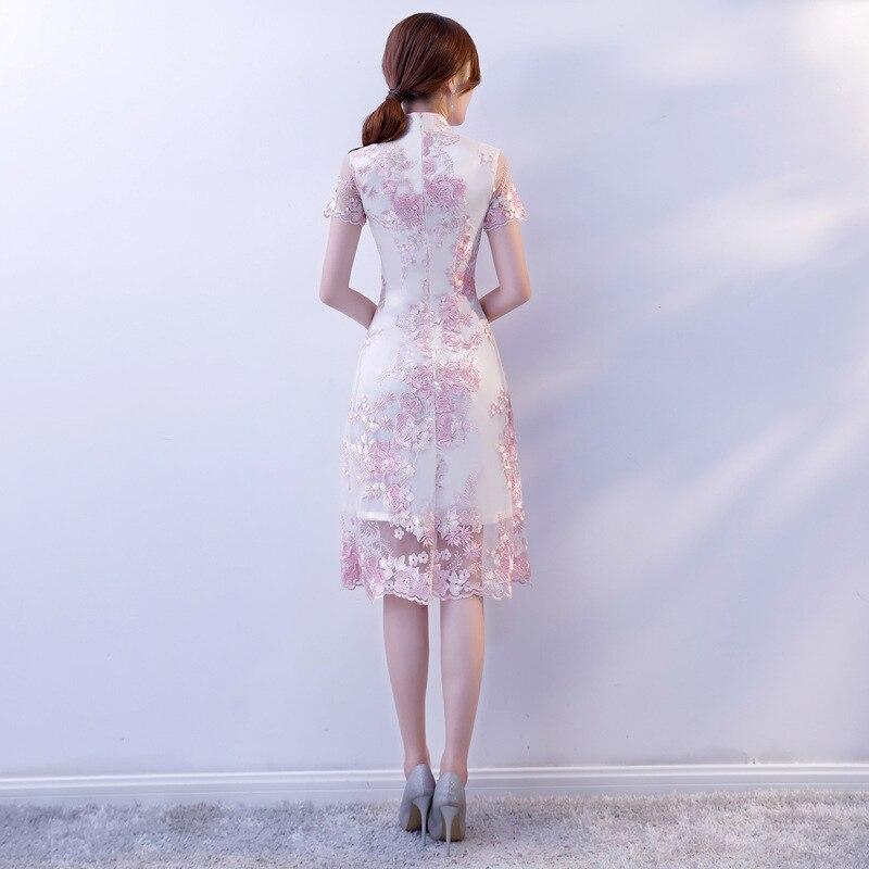 Chino tradicional ropa de encaje bordado Cheongsam vestidos de manga corta Qipao gran para boda baile fiesta cóctel - 3