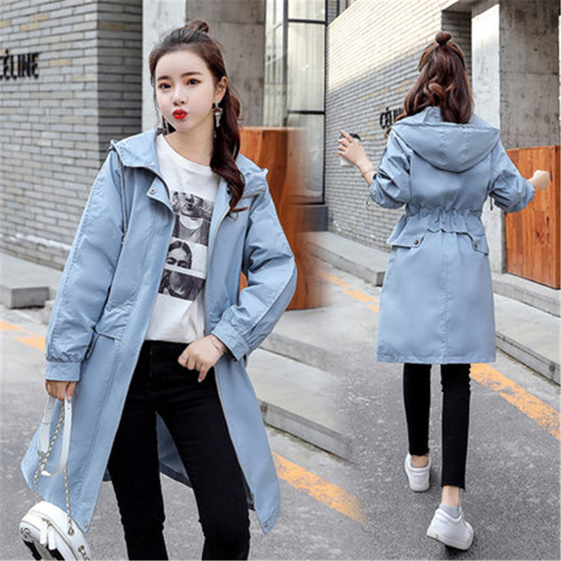 2019 Spring Autumn Hooded Casual Plus Size Long   Trench   Coats Women Long Sleeve Zipper Streetwear Windbreaker Girls Tops X517