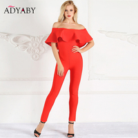 Ruffle Sexy Rompers Womens Jumpsuit Summer 2019 Fashion Off Shoulder Jumpsuit One Piece Celebrity Party Bodycon Jumpsuits Women