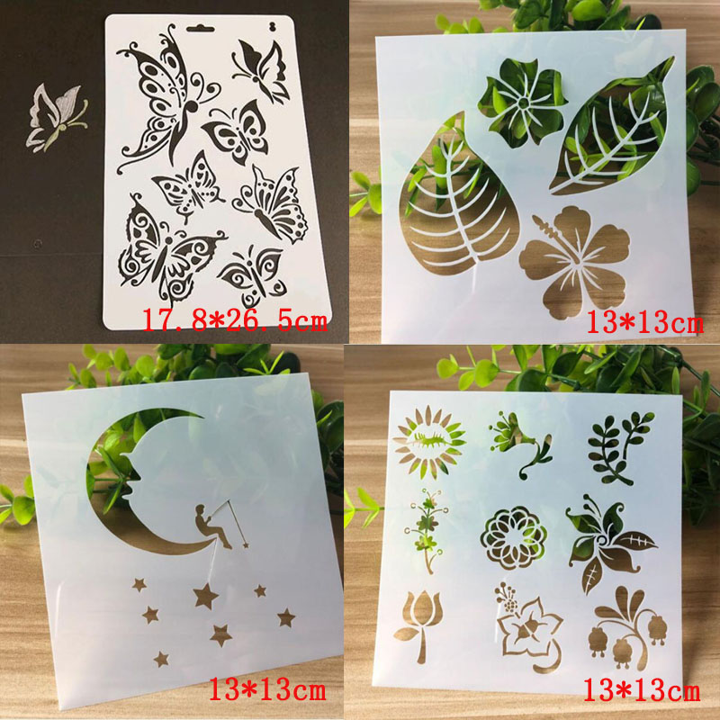 Home 12pcs Kids English Letters Drawing Molds Children Painting Stencils Diy Paper Art Craft Card Label Scrapbook Bookmark