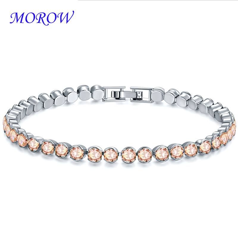 MOROW Hot Classic Simple Natural Crystal AAA Zircon Bracelet Jewelry Gift Quality Plated Gold Charm Fashion Women Bracelets New