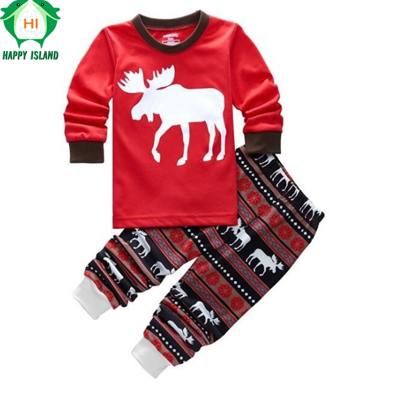 HAPPY ISLAND Christmas Children Clothing 12 Styles Boys Girls Pajamas Long Sleeve Kids Home Wear for 2 to 7 Years Old Children 2 7 years children boys girls christmas pajamas sets children clothing cotton kids long sleeve santa pyjamas for baby sleepwear