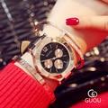 ААА Лучший Бренд GUOU 3 Глаза Моды Случайные Платье Натуральная Кожа Кварцевые Часы Женщины Наручные Часы Relogio Feminino OP001
