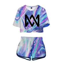 2019 singer Marcus & Martinus Women Two Piece Set Tracksuit Women Top and Shorts Outfits Set Girl Fans Marcus Martinus Suit bountyhome зеркало marcus