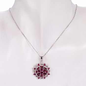 Hutang Solid 925 Sterling Silver 5.03ct Natural Gemstone Rhodolite Garnet Pendant Necklace Fine Jewelry For Women\'s Gift