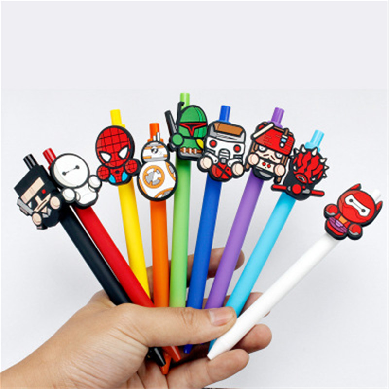 Star wars Cute Gel Pen Kawaii Gel Pen 0.5mm Black ink Candy color pens spider man for Kid Gift escritorio Papelaria-in Gel Pens from Office & School Supplies