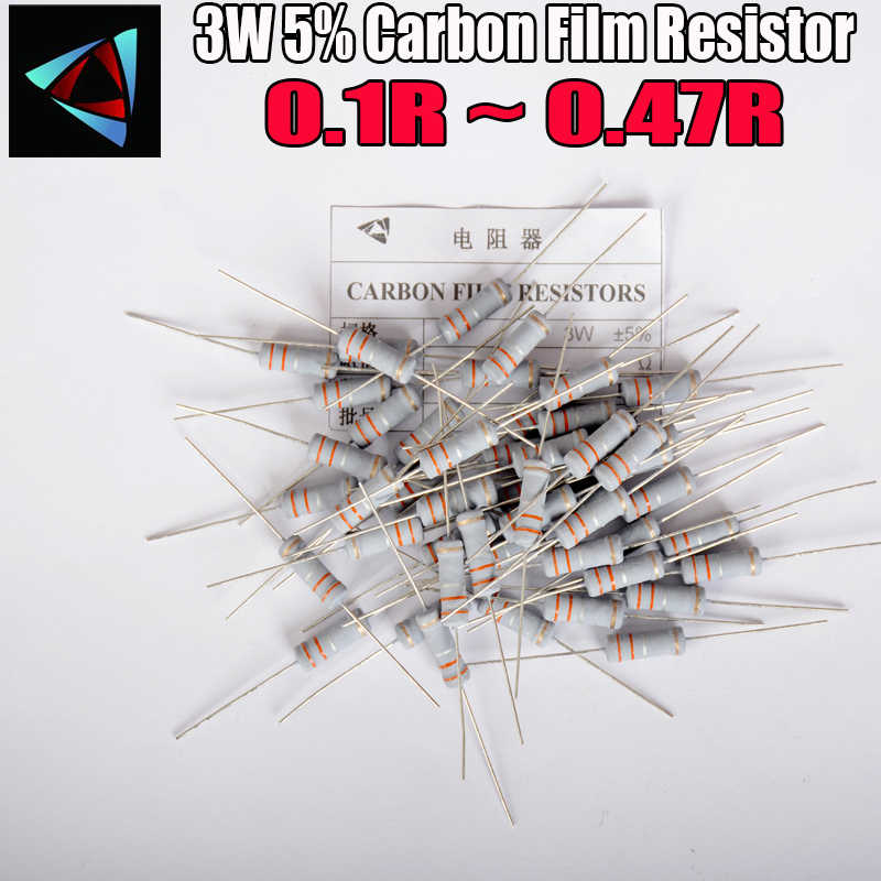 10 Pcs 5% 3W Metal Oxide Film Weerstand 0.1 0.12 0.15 0.18 0.2 0.22 0.24 0.27 0.3 0.33 0.36 0.39 0.43 Ohm Carbon Film Weerstand