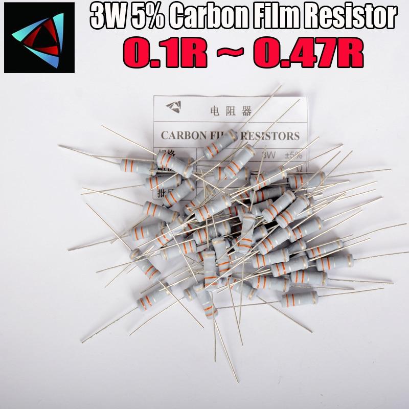 10pcs 5% 3W Metal oxide film Resistor 0.1 0.12 0.15 0.18 0.2 0.22 0.24 0.27 0.3 0.33 0.36 0.39 0.43 ohm Carbon Film Resistor