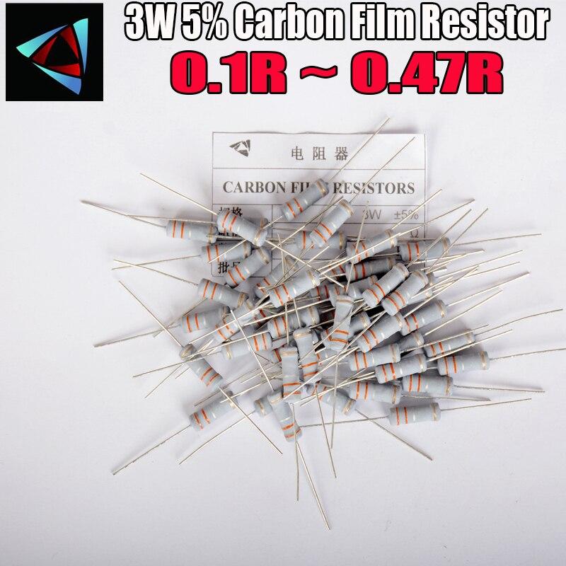 10 шт. 5% 3 Вт металлоксидный пленочный резистор 0,1 0,12 0,15 0,18 0,2 0,22 0,24 0,27 0,3 0,33 0,36 0,39 0,43 Ом карбоновый пленочный резистор