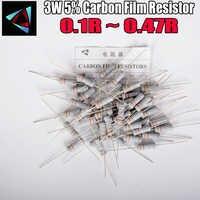 Resistor de película de óxido de Metal 5%, 3W, 0,1, 0,12, 0,15, 0,18, 0,2, 0,22, 0,24, 0,27, 0,3, 0,33, 0,36, 0,39, 0,43 ohm, 10 Uds.