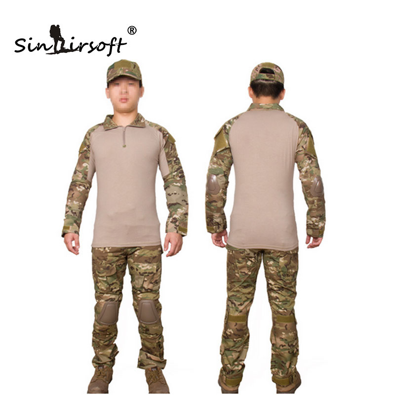 Military Uniform Multicam Combat Shirt & Pants Combat Uniform W/ Knee&Elbow Pads Camouflage Hunting Clothes Ghillie Suit Train military tactical uniform multicam hunt army combat shirt uniform pants with knee pads camouflage hunting clothes ghillie suit