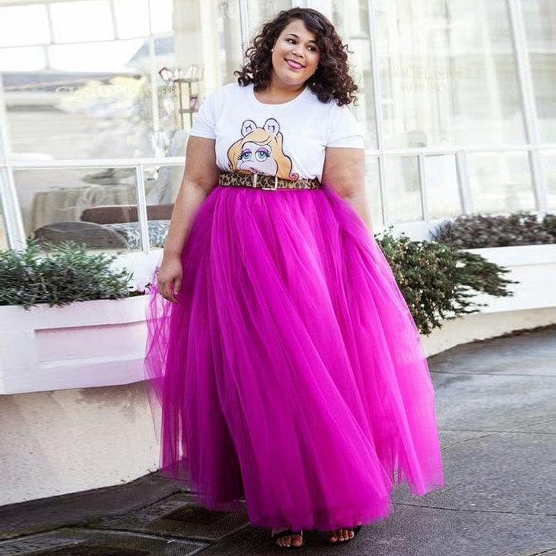 Tienda Online Longitud completa Rosa tulle Faldas Plus tutú largo ...
