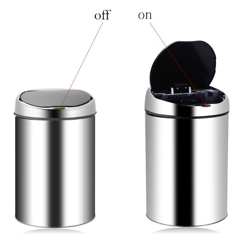 3-8l Нержавеющаясталь автоматического свалку USB Перезаряжаемые Автоматический Смарт Сенсор свалку мусора мусорное ведро Кухня мусорный ба...